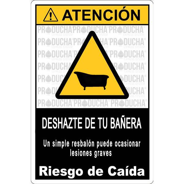cartel peligro bañera - producha